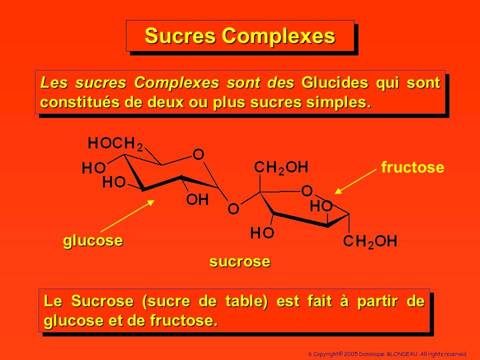 Sucres Complexes Les sucres Complexes sont des Glucides qui sont constitués de deux ou plus sucres simples.