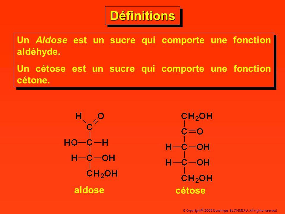 Définitions Un Aldose est un sucre qui comporte une fonction aldéhyde.
