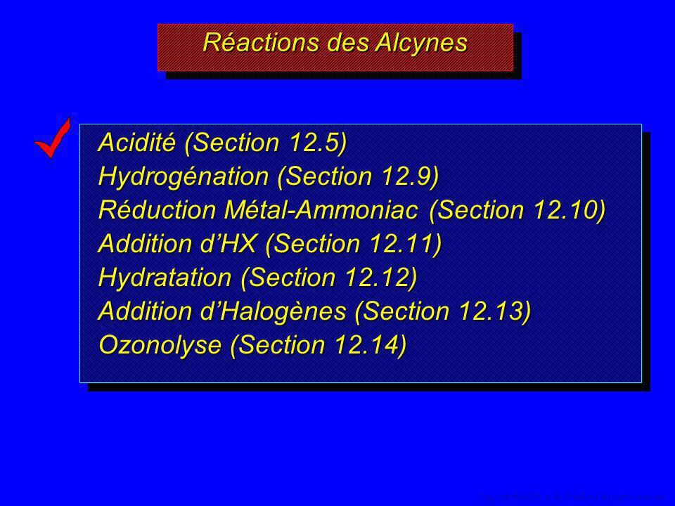 Hydrogénation (Section 12.9) Réduction Métal-Ammoniac (Section 12.10)