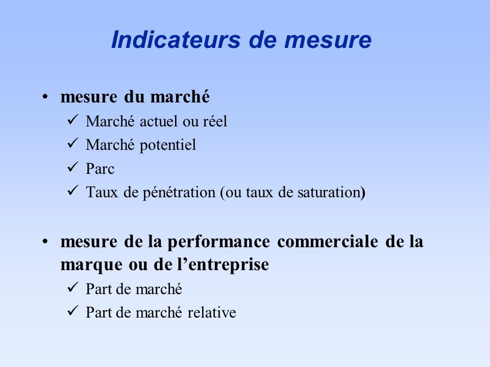 Indicateurs de mesure mesure du marché