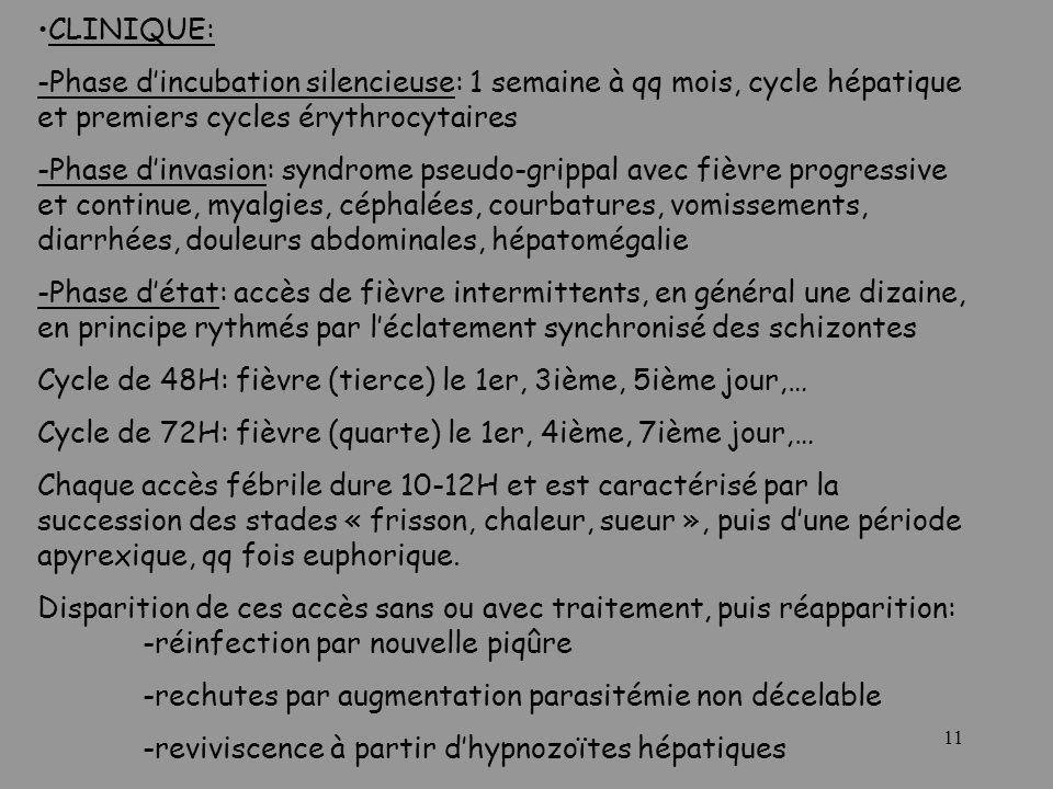 CLINIQUE: -Phase d'incubation silencieuse: 1 semaine à qq mois, cycle hépatique et premiers cycles érythrocytaires.