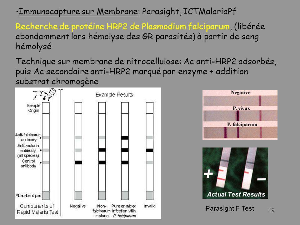 Immunocapture sur Membrane: Parasight, ICTMalariaPf