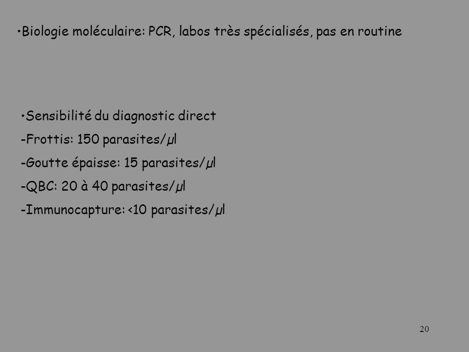 Biologie moléculaire: PCR, labos très spécialisés, pas en routine