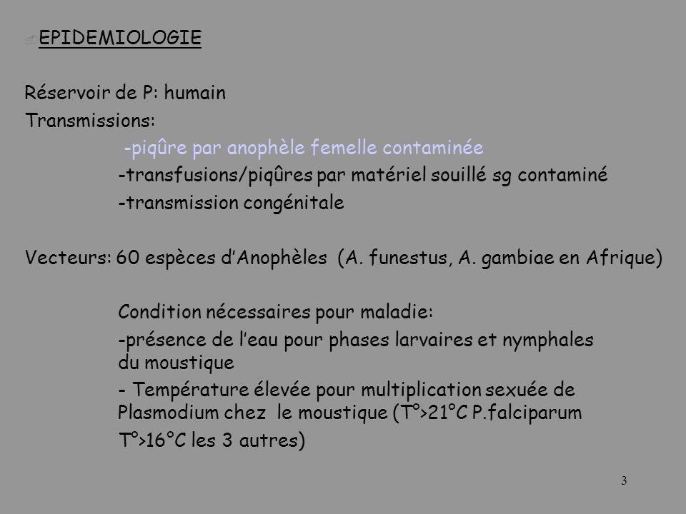 EPIDEMIOLOGIE Réservoir de P: humain. Transmissions: -piqûre par anophèle femelle contaminée.