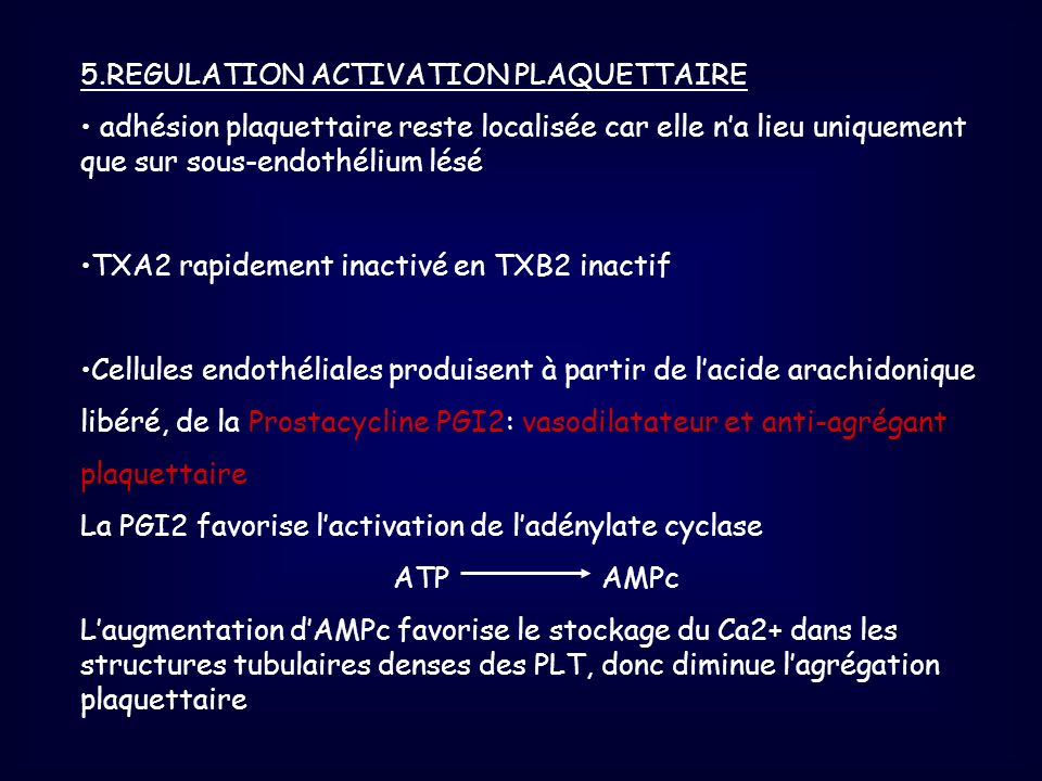 5.REGULATION ACTIVATION PLAQUETTAIRE