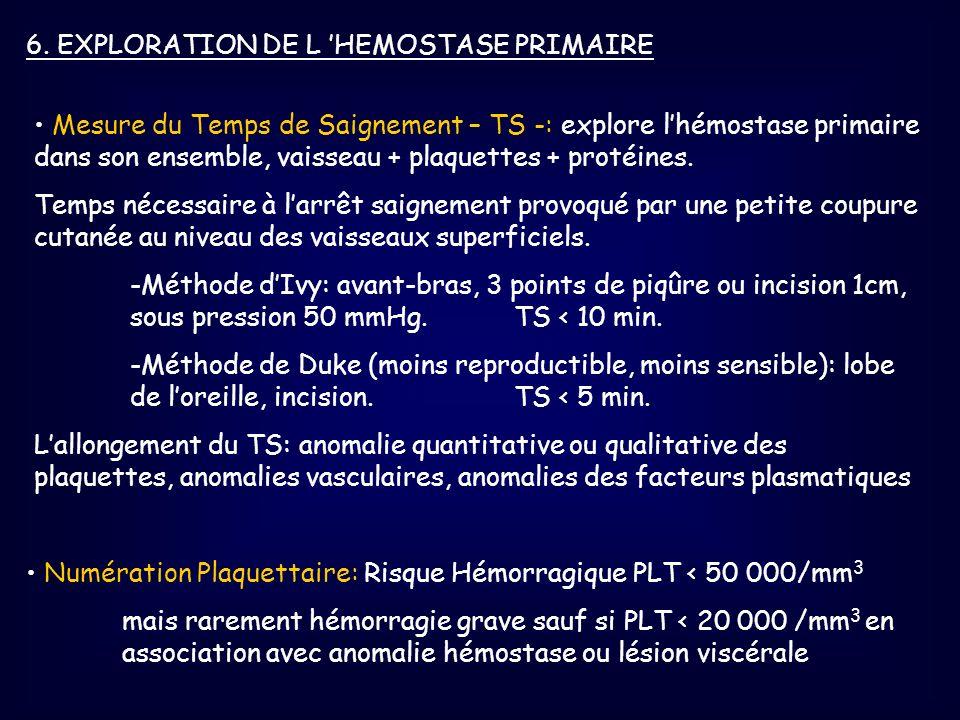 6. EXPLORATION DE L 'HEMOSTASE PRIMAIRE