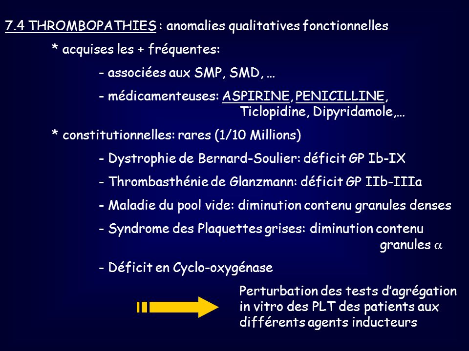 7.4 THROMBOPATHIES : anomalies qualitatives fonctionnelles