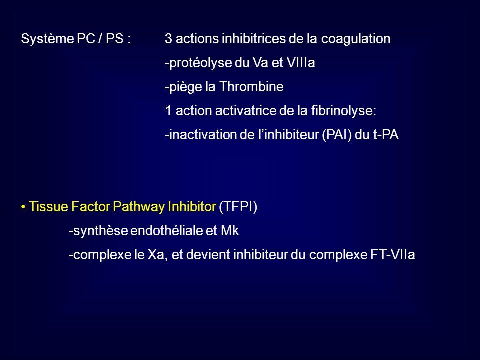 Système PC / PS : 3 actions inhibitrices de la coagulation