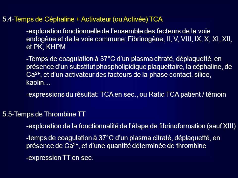 5.4-Temps de Céphaline + Activateur (ou Activée) TCA