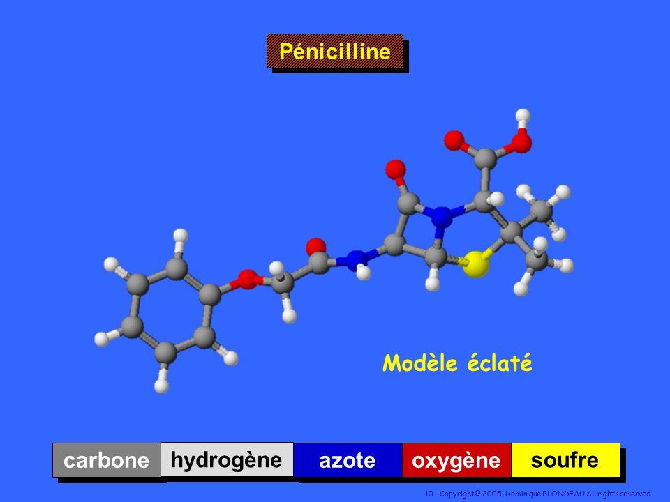 Pénicilline Modèle éclaté carbone hydrogène azote oxygène soufre