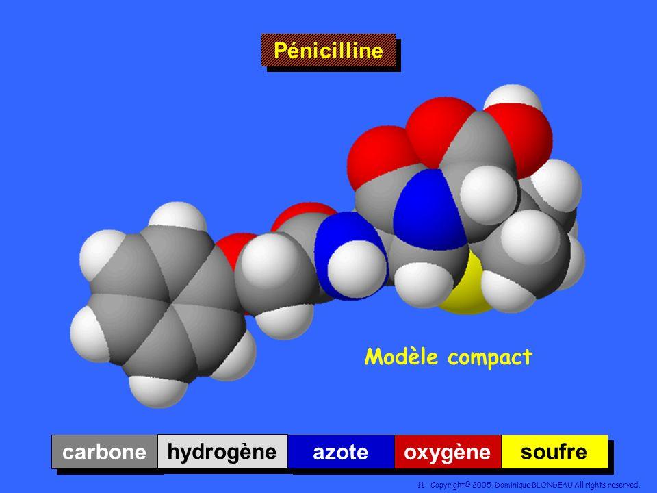 Pénicilline Modèle compact carbone hydrogène azote oxygène soufre