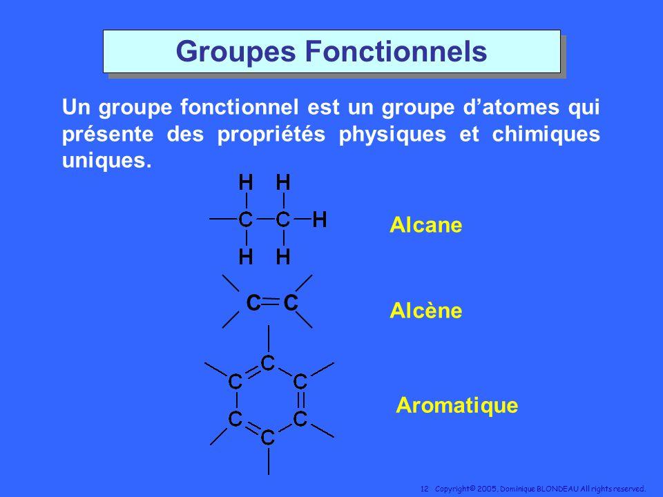 Groupes Fonctionnels Un groupe fonctionnel est un groupe d'atomes qui présente des propriétés physiques et chimiques uniques.