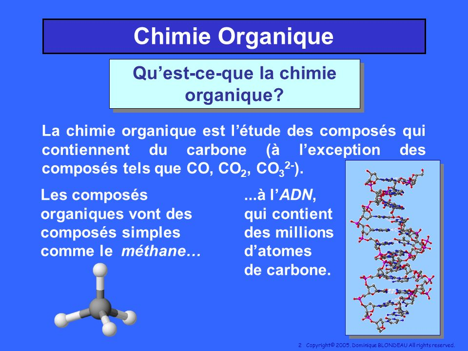 Qu'est-ce-que la chimie organique