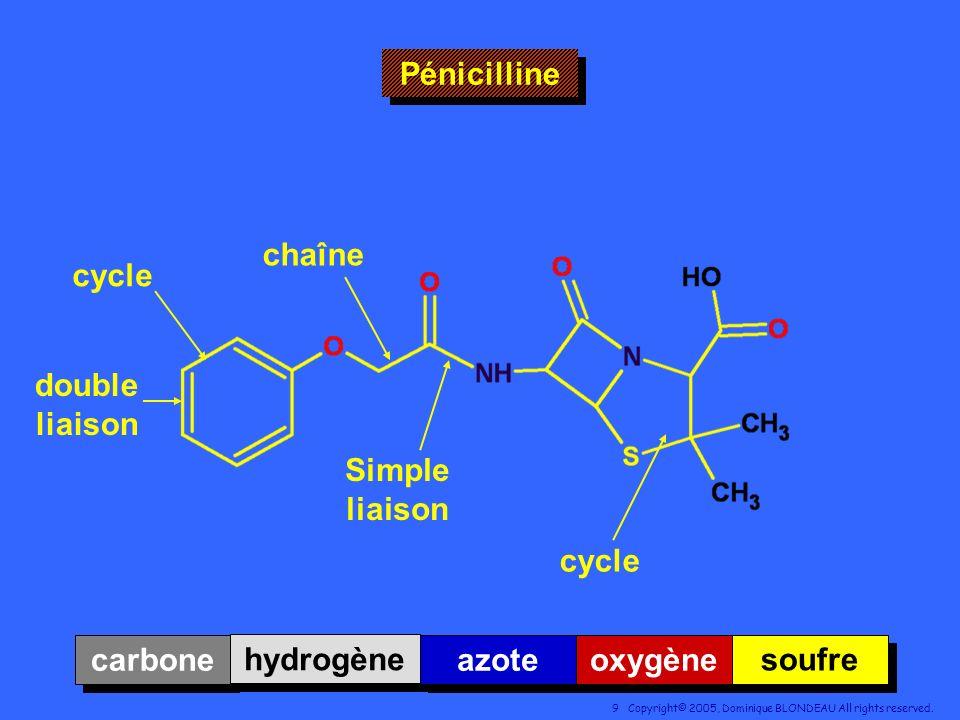 Pénicilline chaîne cycle double liaison Simple liaison cycle carbone hydrogène azote oxygène soufre