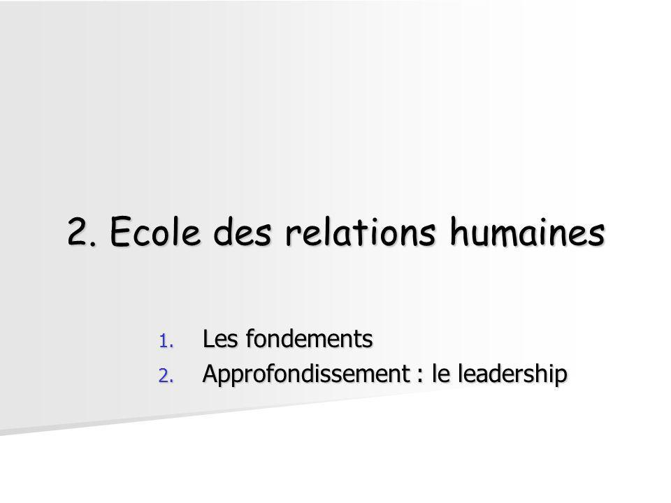 2. Ecole des relations humaines
