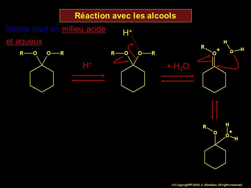 Réaction avec les alcools