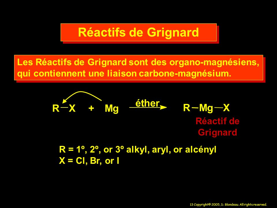Réactifs de Grignard R X + M g é t h e r g R M X