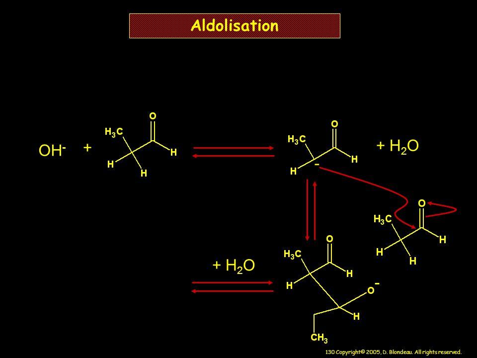 Aldolisation + + H2O OH- - + H2O -