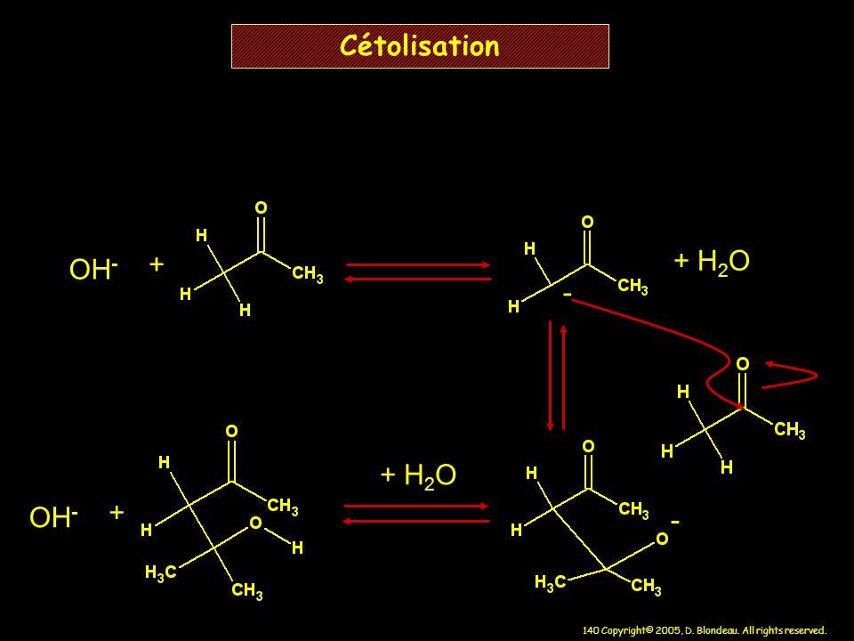Cétolisation OH- + + H2O - + H2O OH- + -