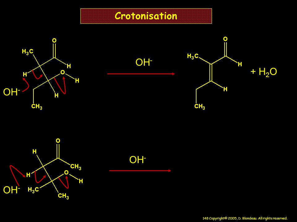 Crotonisation OH- + H2O OH- OH- OH-