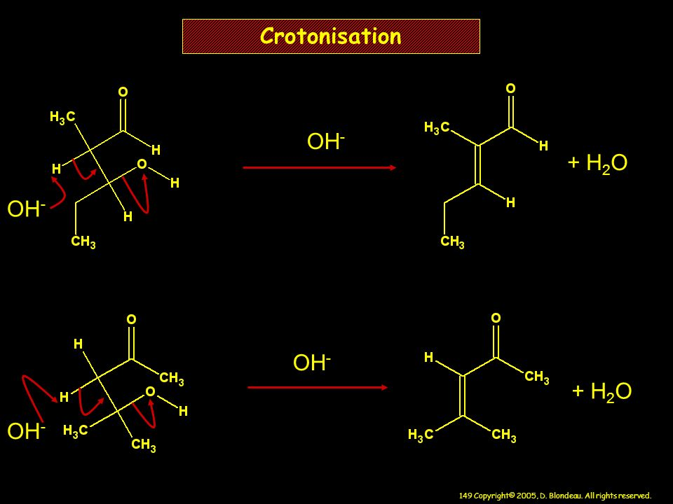 Crotonisation OH- + H2O OH- OH- + H2O OH-