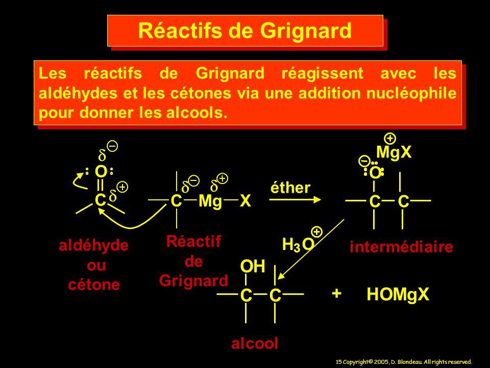 Réactifs de Grignard C O H H O M g X + C O M g X C O d M g X