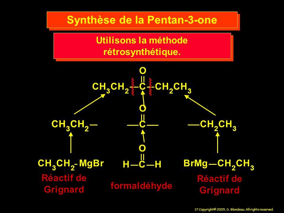Synthèse de la Pentan-3-one Utilisons la méthode rétrosynthétique.