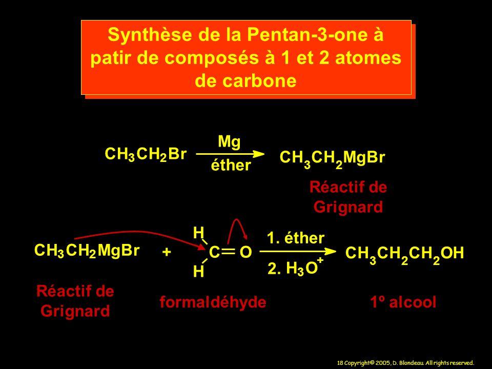 Synthèse de la Pentan-3-one à patir de composés à 1 et 2 atomes de carbone