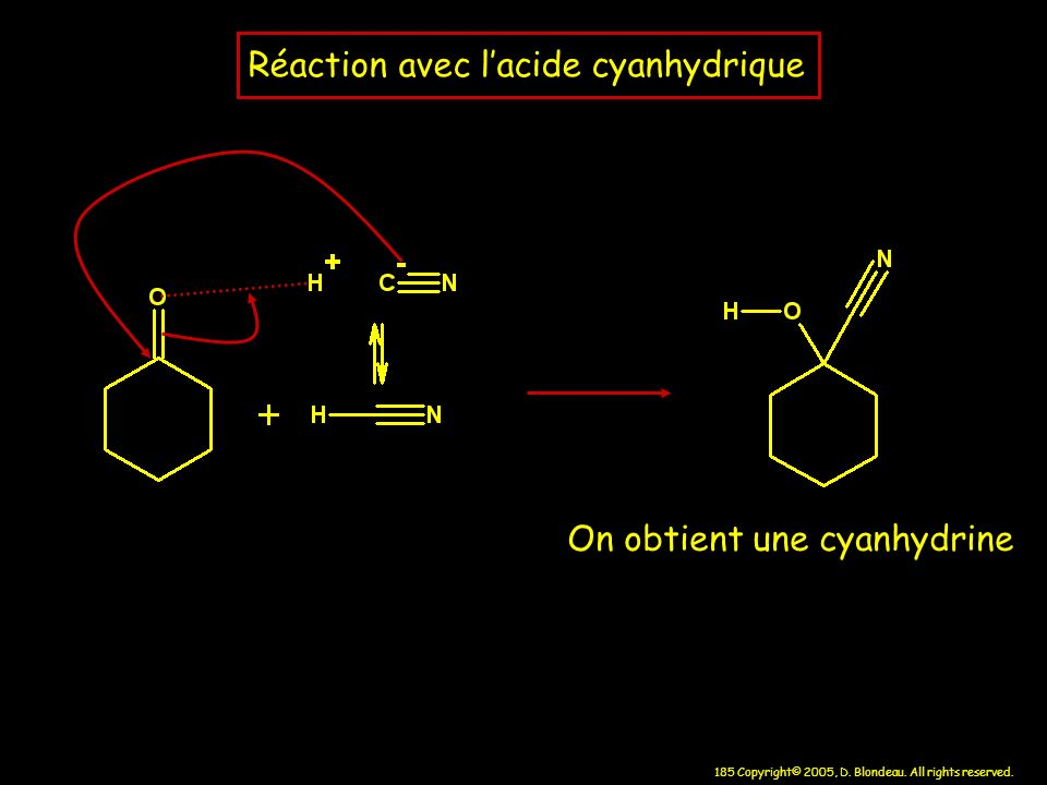 Réaction avec l'acide cyanhydrique