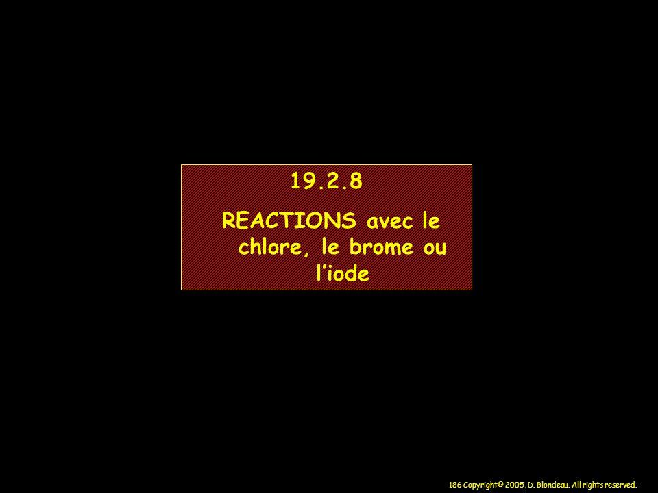 REACTIONS avec le chlore, le brome ou l'iode