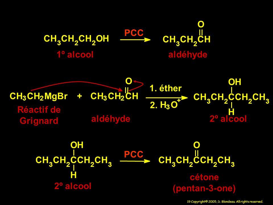 C H O P 1º alcool aldéhyde C H O M g B r + 1. éther 2. C H O