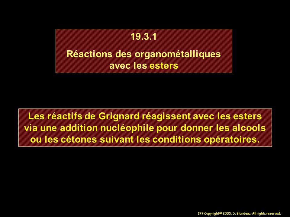 Réactions des organométalliques avec les esters