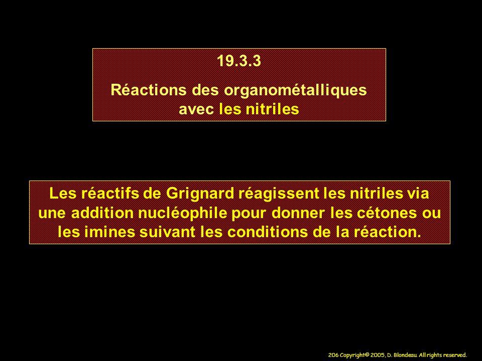Réactions des organométalliques avec les nitriles