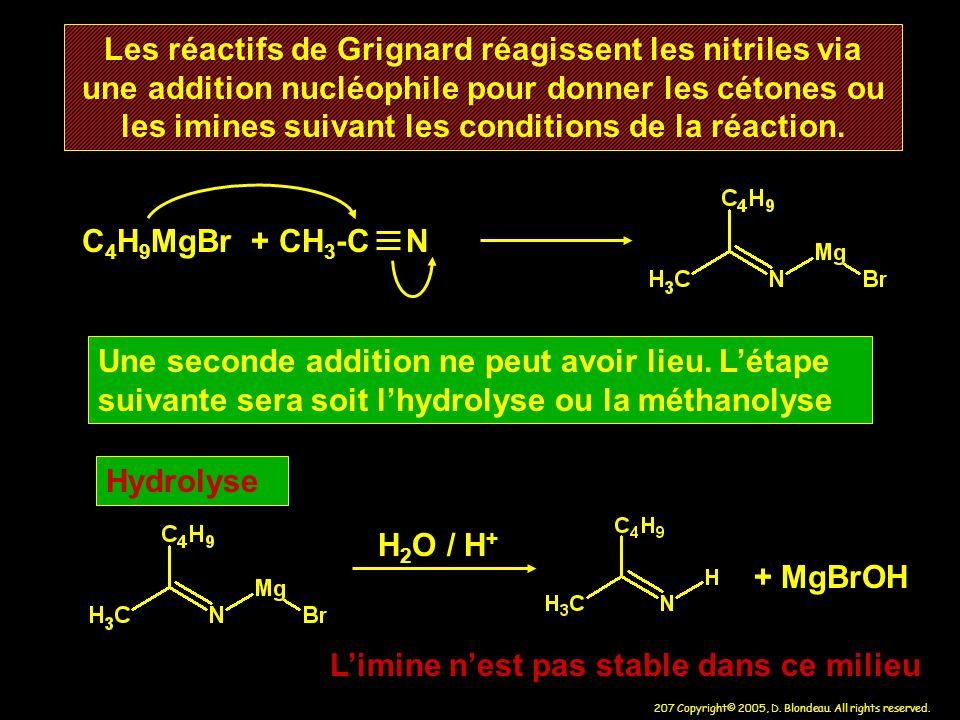 Les réactifs de Grignard réagissent les nitriles via une addition nucléophile pour donner les cétones ou les imines suivant les conditions de la réaction.