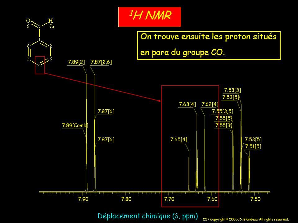 1H NMR On trouve ensuite les proton situés en para du groupe CO.