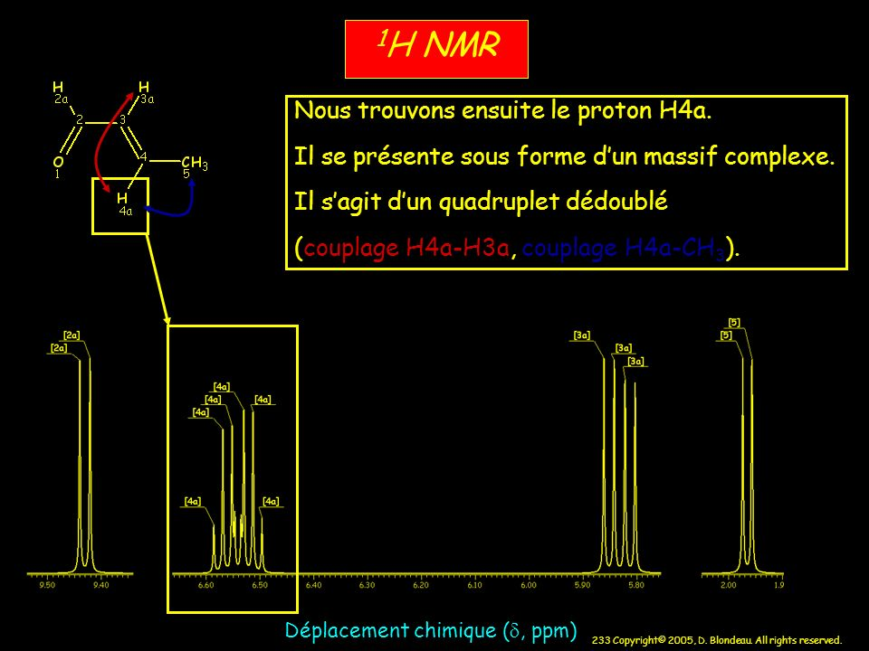 1H NMR Nous trouvons ensuite le proton H4a.