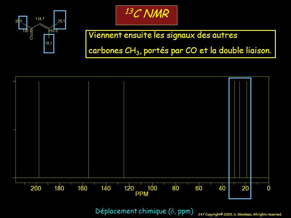 13C NMR Viennent ensuite les signaux des autres