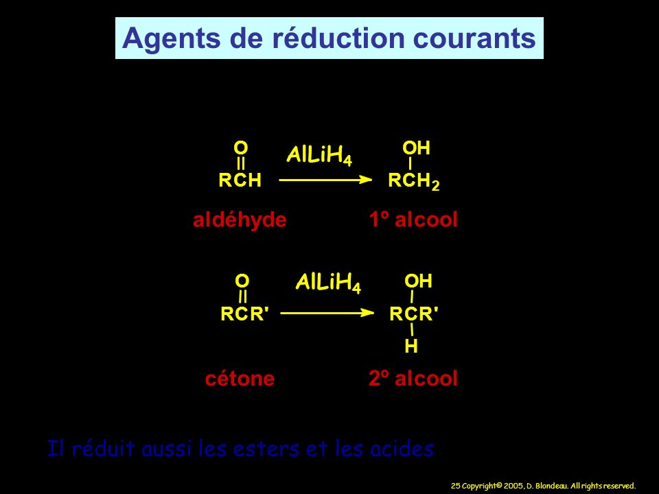 Agents de réduction courants