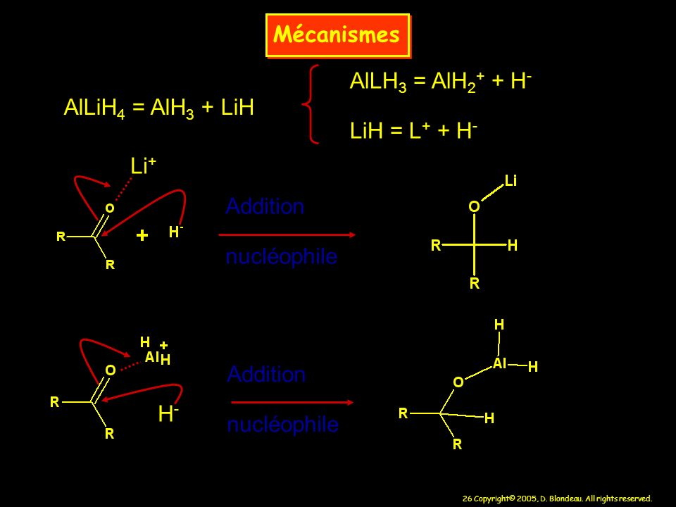 MécanismesAlLH3 = AlH2+ + H- LiH = L+ + H- AlLiH4 = AlH3 + LiH. Li+ Addition. nucléophile. Addition.