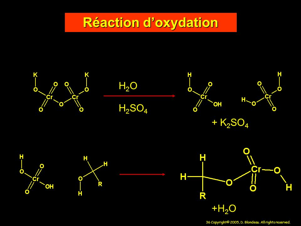 Réaction d'oxydation H2O H2SO4 + K2SO4 +H2O