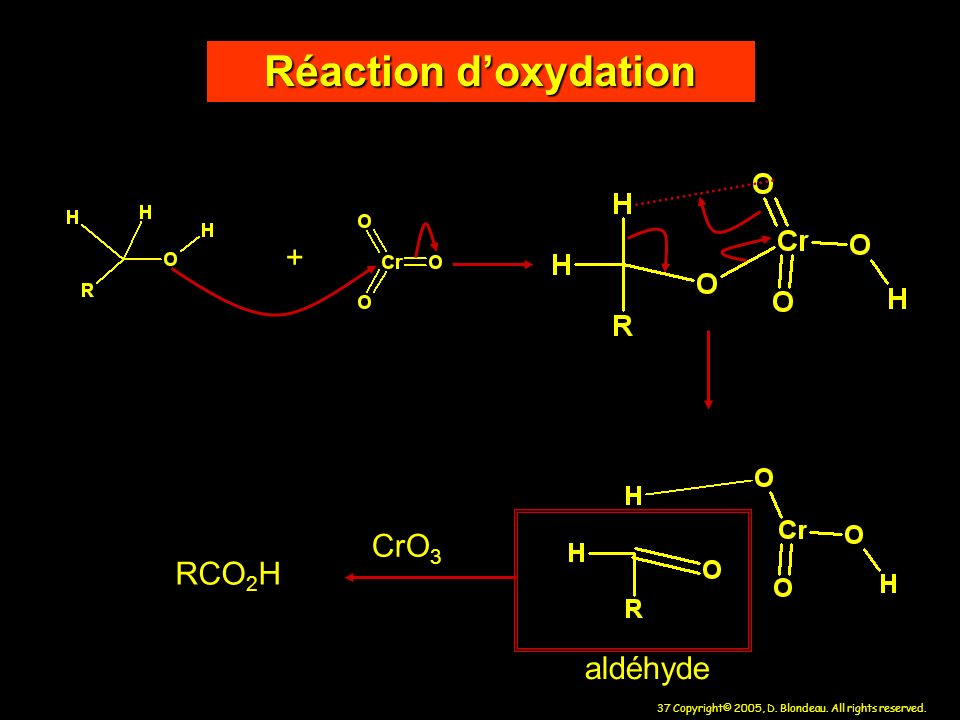 Réaction d'oxydation + CrO3 RCO2H aldéhyde