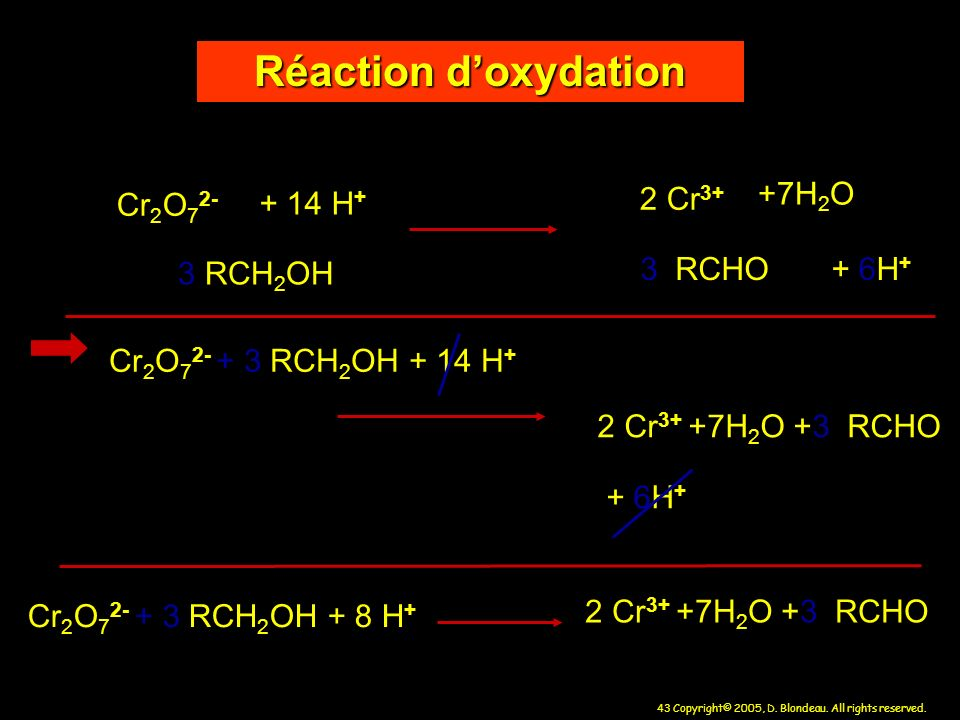 Réaction d'oxydation + 14 H+ 2 Cr3+ +7H2O Cr2O72- 3 RCH2OH 3 RCHO