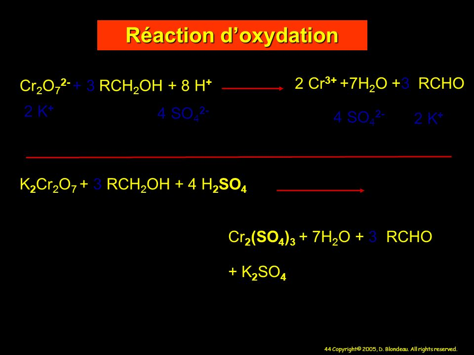 Réaction d'oxydation 2 Cr3+ +7H2O +3 RCHO Cr2O72- + 3 RCH2OH + 8 H+