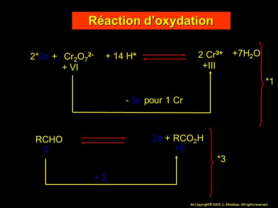 Réaction d'oxydation +7H2O 2 Cr3+ 2*3e + Cr2O72- + 14 H+ +III + VI *1
