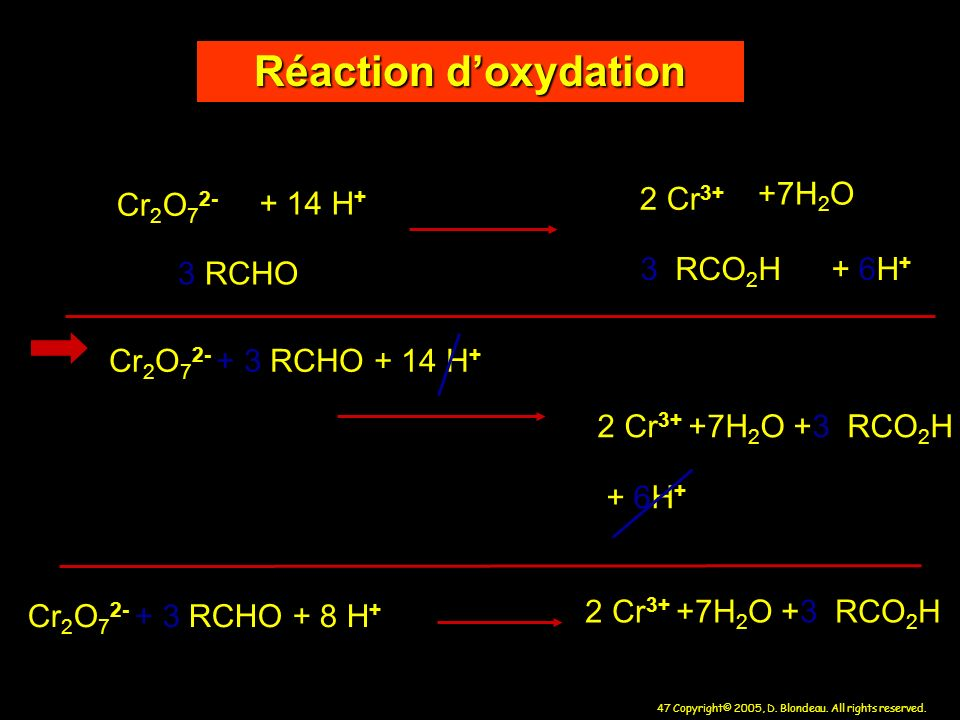 Réaction d'oxydation + 14 H+ 2 Cr3+ +7H2O Cr2O72- 3 RCHO 3 RCO2H + 6H+