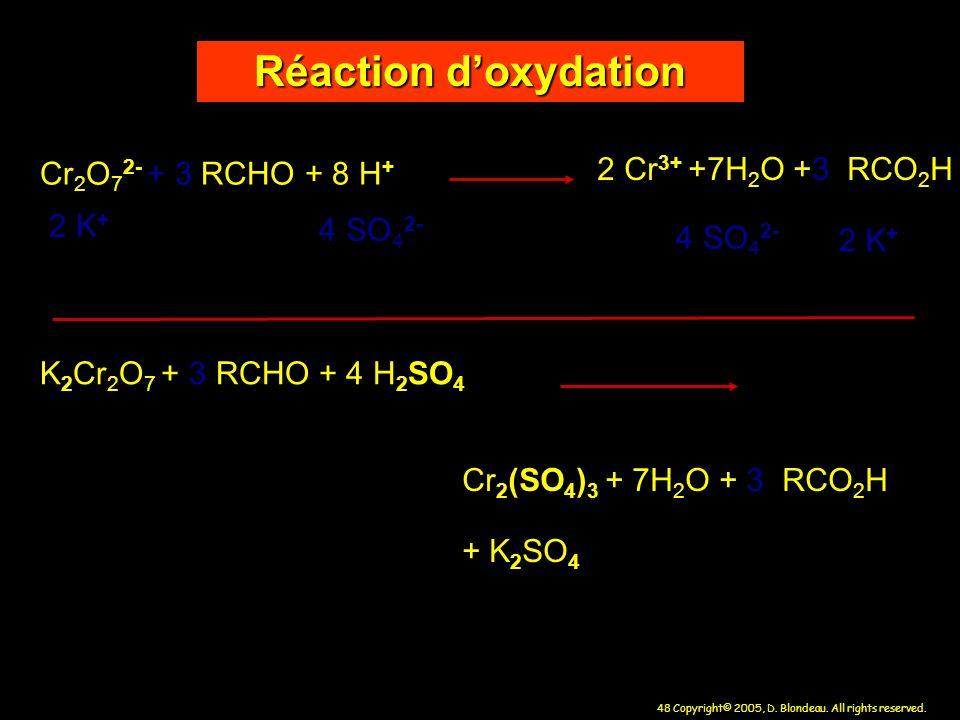 Réaction d'oxydation 2 Cr3+ +7H2O +3 RCO2H Cr2O72- + 3 RCHO + 8 H+