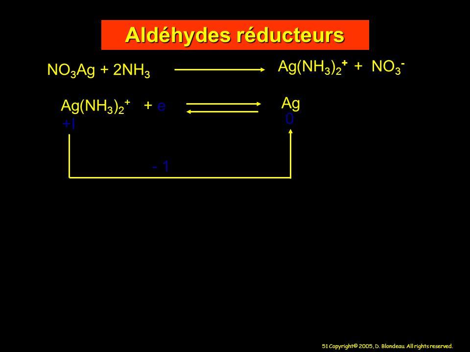 Aldéhydes réducteurs Ag(NH3)2+ + NO3- NO3Ag + 2NH3 Ag Ag(NH3)2+ + e +I