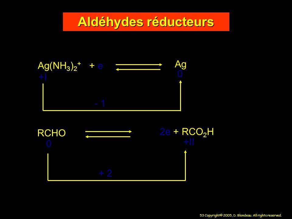 Aldéhydes réducteurs Ag(NH3)2+ + e Ag +I - 1 RCHO 2e + RCO2H +II + 2