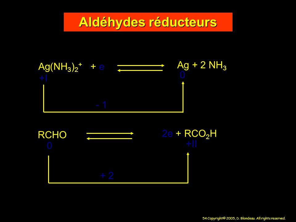 Aldéhydes réducteurs Ag + 2 NH3 Ag(NH3)2+ + e +I - 1 2e + RCO2H RCHO