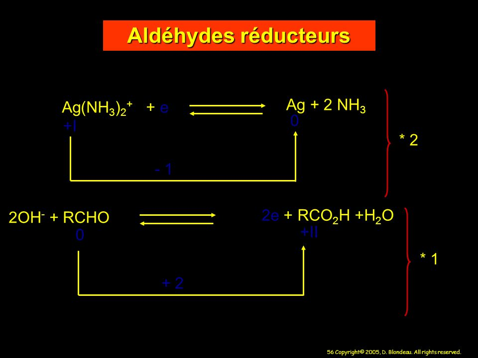 Aldéhydes réducteurs Ag + 2 NH3 Ag(NH3)2+ + e +I * 2 - 1